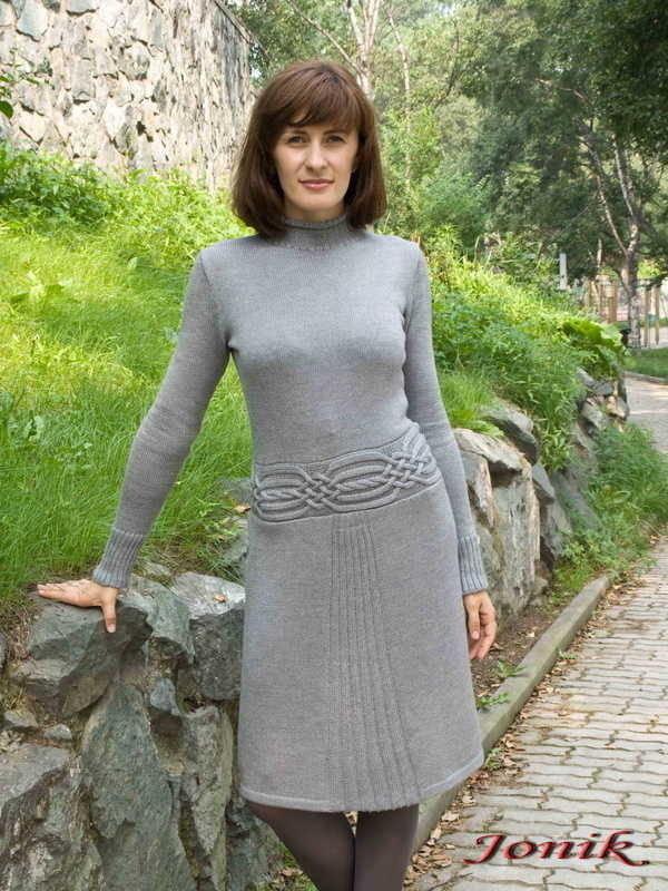Вязание платье с длинным рукавом