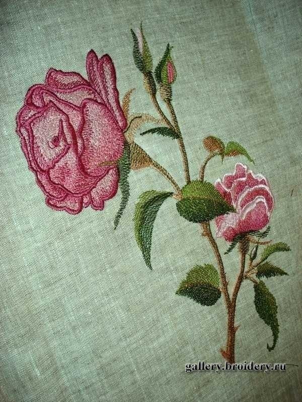 Дизайн розы для машинной вышивки