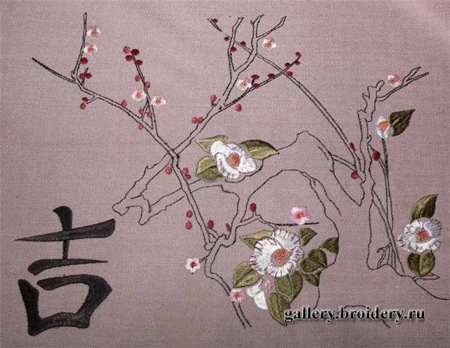 Вышивка гладью японская стиль