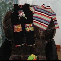 Зимний комбинезон и водолазка из старого шарфа.  Машинная вышивка и шитье.