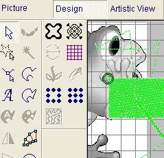 Контурная и стежковая информация содержится в объектах созданных инструментами программы в модуле Design
