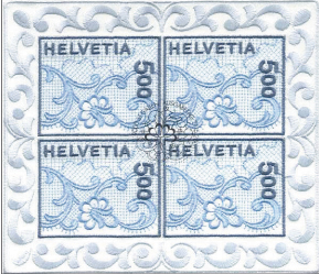 Вышитая почтовая марка