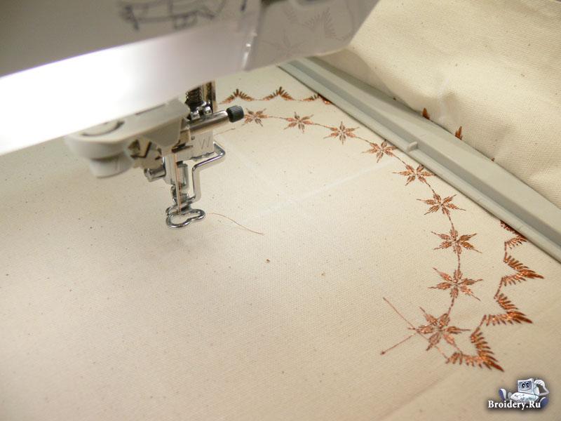 Стыкуем дизайн машинной вышивки. Вышиваем первую часть