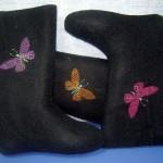 Вышивка на валенках_бабочки