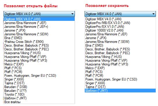 Форматы понятные Digitizer MBX