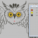 Embroideru digitizing. Design Owl