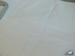 Вышивка на салфетках. Запяливание