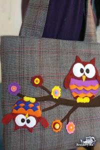 Аппликация из ткани на сумке. Сумка с совой