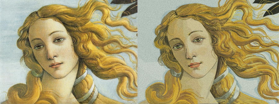 Фрагмент «Рождение Венеры» Сандро Боттичелли – вторая крупная работа на курсах вышивки. Пока не окончена