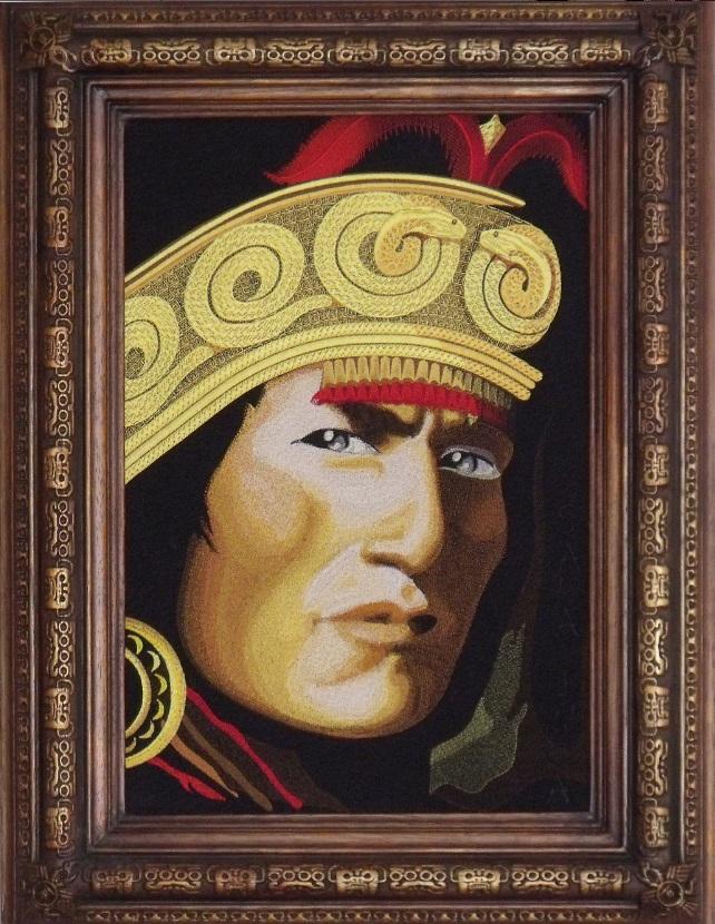 «Sapa Inca». Первый вышитый портрет. Портрет Атауальпа, – последнего императора великой империи инков