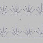 Manual Stitch. В верхней части рисунка изображен узор созданный инструментом Строчка, в нижней части инструментом Manual Stitch