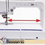 Рабочая область швейной машины по длине