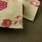 Обработка края салфетки из плотной ткани