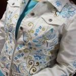 Женский жакет декорируем машиной вышивкой. Как украсить полочки