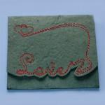 Машинная вышивка на бумаге для скрапбукинга. Поздравительная открытка