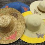 Машинная вышивка на соломенных шляпах
