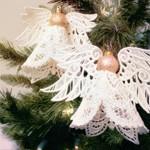 Рождественские ангелочки из кружева