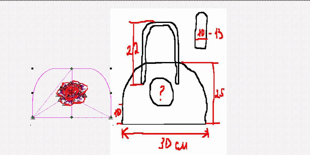Сумка из фетра украшенная машинной вышивкой: Выкройка