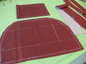 Сумка из фетра украшенная машинной вышивкой: Раскрой подклада