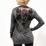 Машинная вышивка на сетке: Декорируем спинку кардигана