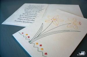 Машинная вышивка: Открытка из картона с вышивкой
