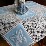 Машинная вышивка: Салфетка с вышивкой в технике кроше