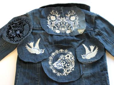 Джинсовая куртка с машинной вышивкой: Детали аппликации
