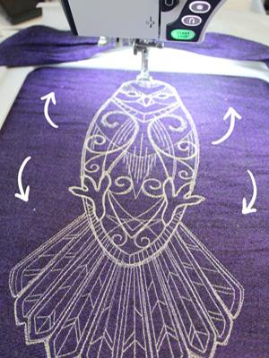 Украшаем палантин машинной вышивкой: Стыковка
