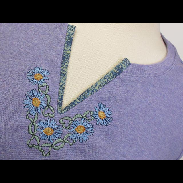 Шьем в пяльцах: Оформление горловины машинной вышивкой