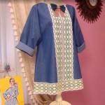 Джинсовая блуза с кружевом
