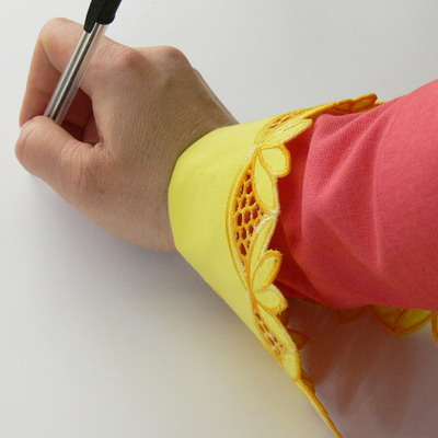 Вышиваем манжеты для рукавов в технике ришелье
