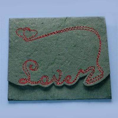 Вышиваем открытку на бумаге для скарпбукинга