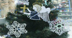 Вышитое кружево: Ангелы и Снежинки на елку